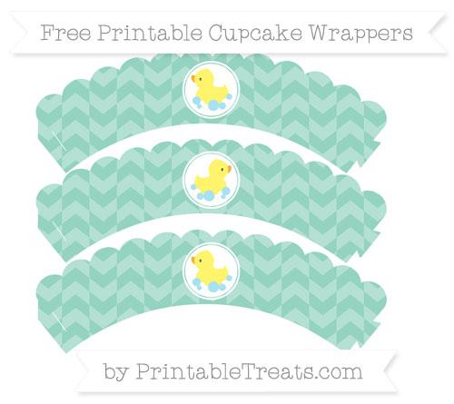 Free Pastel Green Herringbone Pattern Baby Duck Scalloped Cupcake Wrappers
