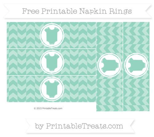 Free Pastel Green Herringbone Pattern Baby Onesie Napkin Rings