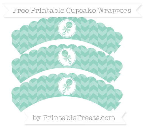 Free Pastel Green Herringbone Pattern Baby Rattle Scalloped Cupcake Wrappers