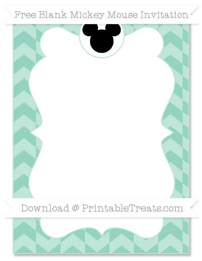 Free Pastel Green Herringbone Pattern Blank Mickey Mouse Invitation