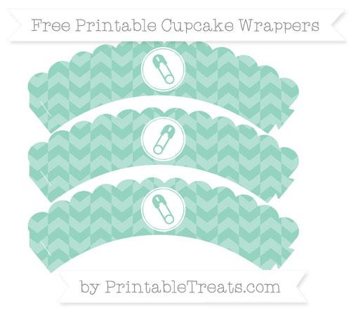 Free Pastel Green Herringbone Pattern Diaper Pin Scalloped Cupcake Wrappers