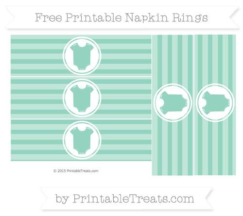 Free Pastel Green Horizontal Striped Baby Onesie Napkin Rings