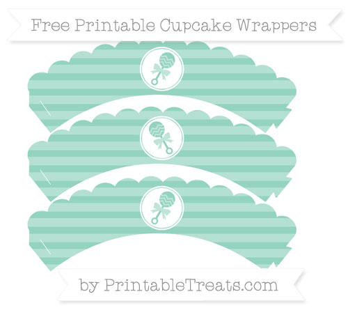 Free Pastel Green Horizontal Striped Baby Rattle Scalloped Cupcake Wrappers