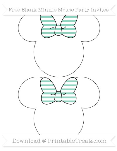 Free Pastel Green Horizontal Striped Blank Minnie Mouse Party Invites