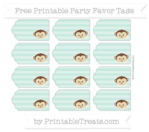 Free Pastel Green Horizontal Striped Boy Monkey Party Favor Tags