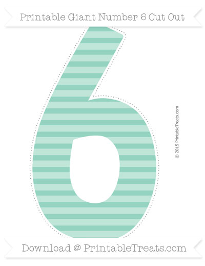 Free Pastel Green Horizontal Striped Giant Number 6 Cut Out