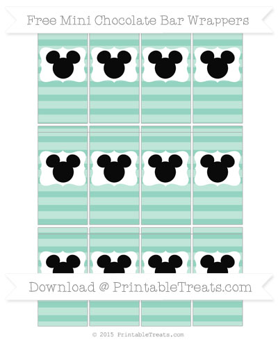 Free Pastel Green Horizontal Striped Mickey Mouse Mini Chocolate Bar Wrappers