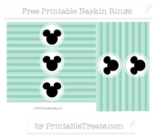 Free Pastel Green Horizontal Striped Mickey Mouse Napkin Rings