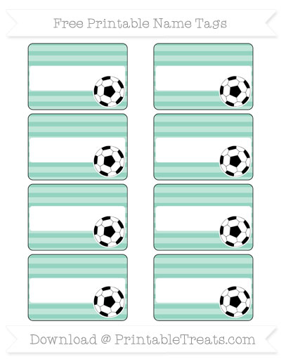 Free Pastel Green Horizontal Striped Soccer Name Tags