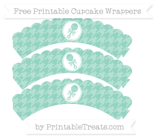 Free Pastel Green Houndstooth Pattern Baby Rattle Scalloped Cupcake Wrappers