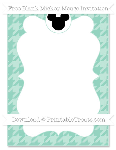 Free Pastel Green Houndstooth Pattern Blank Mickey Mouse Invitation