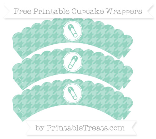 Free Pastel Green Houndstooth Pattern Diaper Pin Scalloped Cupcake Wrappers