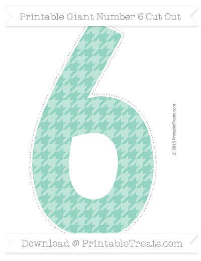 Free Pastel Green Houndstooth Pattern Giant Number 6 Cut Out