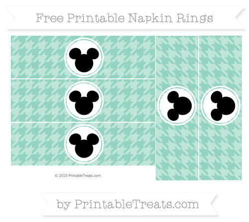 Free Pastel Green Herringbone Pattern Mickey Mouse Napkin Rings