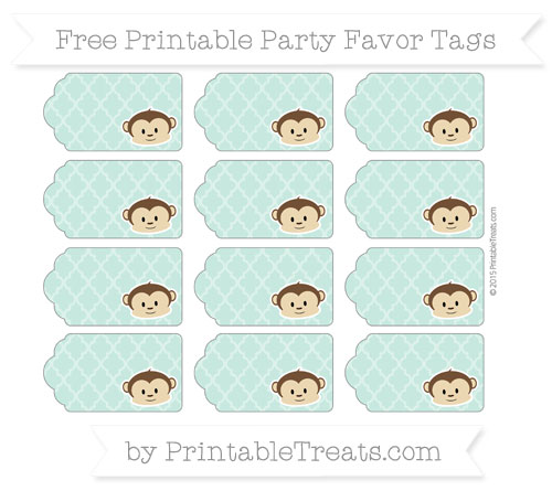 Free Pastel Green Moroccan Tile Boy Monkey Party Favor Tags