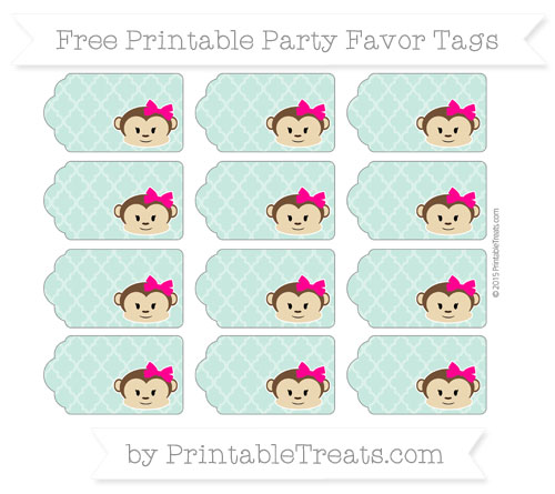 Free Pastel Green Moroccan Tile Girl Monkey Party Favor Tags