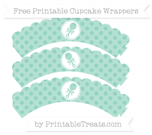 Free Pastel Green Polka Dot Baby Rattle Scalloped Cupcake Wrappers