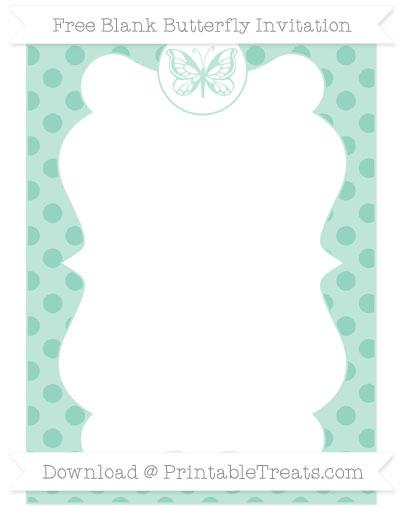 Free Pastel Green Polka Dot Blank Butterfly Invitation