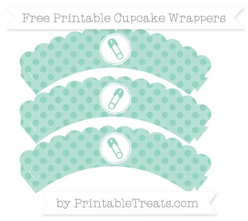 Free Pastel Green Polka Dot Diaper Pin Scalloped Cupcake Wrappers
