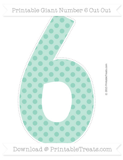 Free Pastel Green Polka Dot Giant Number 6 Cut Out