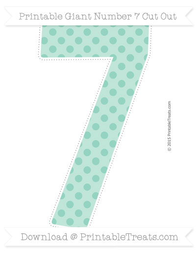 Free Pastel Green Polka Dot Giant Number 7 Cut Out