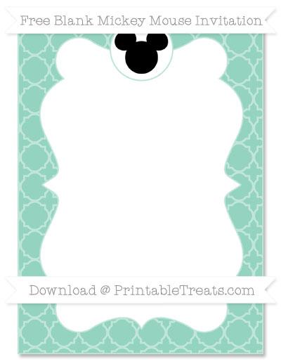 Free Pastel Green Quatrefoil Pattern Blank Mickey Mouse Invitation
