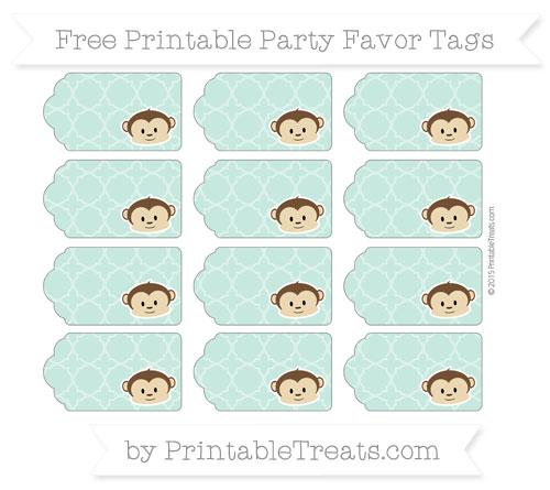 Free Pastel Green Quatrefoil Pattern Boy Monkey Party Favor Tags