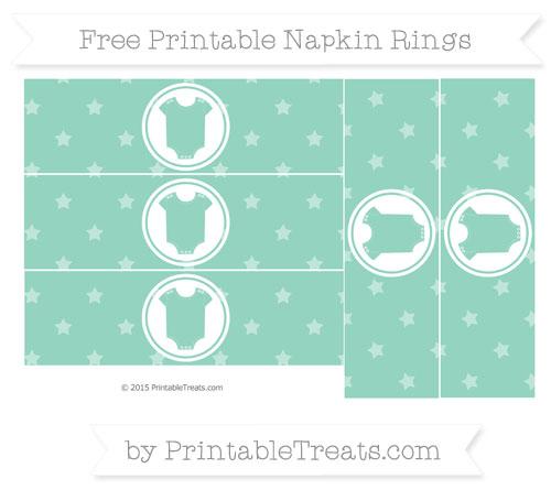 Free Pastel Green Star Pattern Baby Onesie Napkin Rings