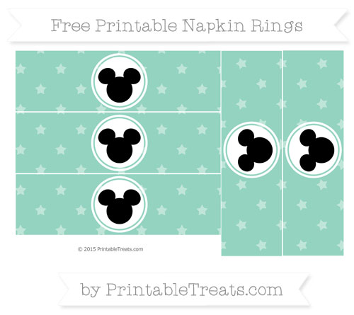 Free Pastel Green Star Pattern Mickey Mouse Napkin Rings