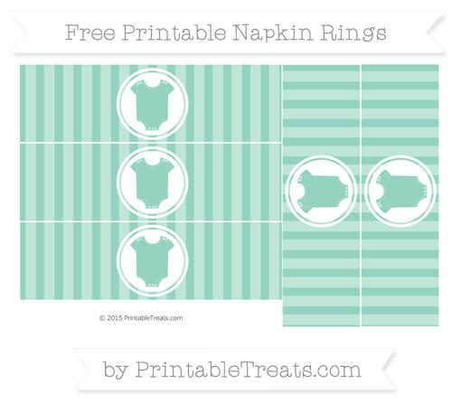 Free Pastel Green Striped Baby Onesie Napkin Rings