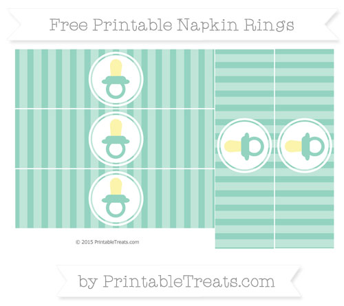Free Pastel Green Striped Baby Pacifier Napkin Rings
