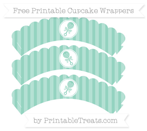 Free Pastel Green Striped Baby Rattle Scalloped Cupcake Wrappers