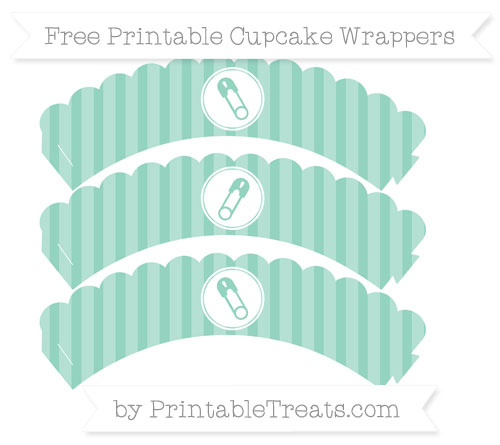 Free Pastel Green Striped Diaper Pin Scalloped Cupcake Wrappers