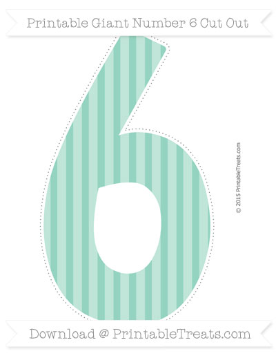 Free Pastel Green Striped Giant Number 6 Cut Out