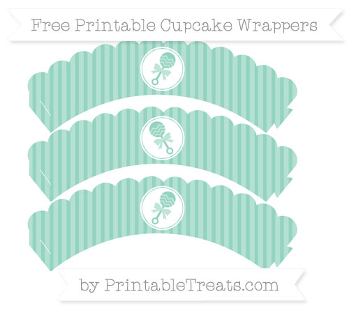 Free Pastel Green Thin Striped Pattern Baby Rattle Scalloped Cupcake Wrappers