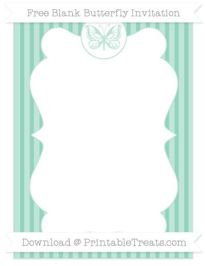 Free Pastel Green Thin Striped Pattern Blank Butterfly Invitation