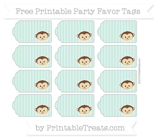 Free Pastel Green Thin Striped Pattern Boy Monkey Party Favor Tags