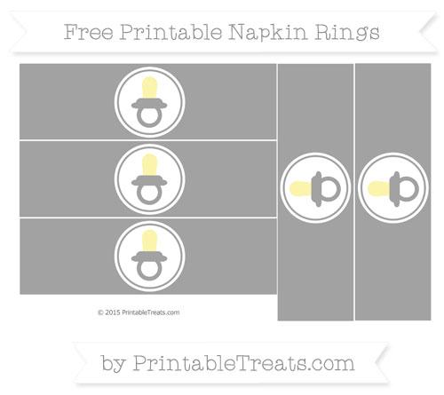 Free Pastel Grey Baby Pacifier Napkin Rings