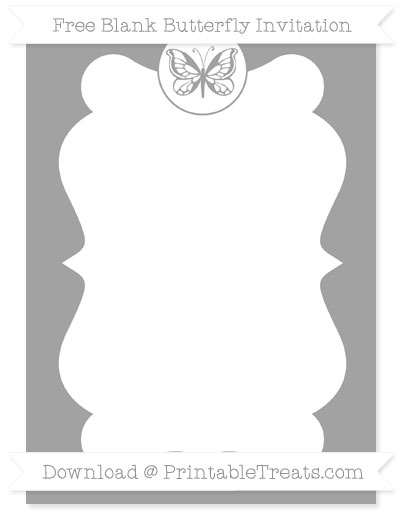 Free Pastel Grey Blank Butterfly Invitation