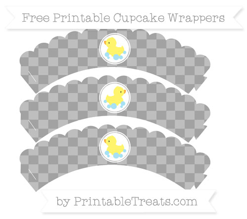 Free Pastel Grey Checker Pattern Baby Duck Scalloped Cupcake Wrappers
