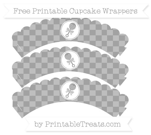 Free Pastel Grey Checker Pattern Baby Rattle Scalloped Cupcake Wrappers