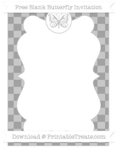 Free Pastel Grey Checker Pattern Blank Butterfly Invitation