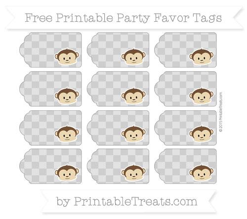 Free Pastel Grey Checker Pattern Boy Monkey Party Favor Tags