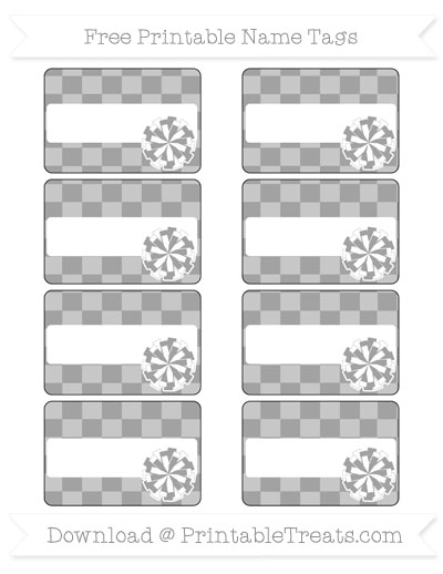 Free Pastel Grey Checker Pattern Cheer Pom Pom Tags