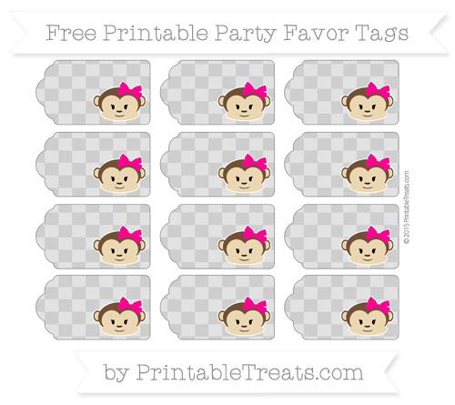 Free Pastel Grey Checker Pattern Girl Monkey Party Favor Tags