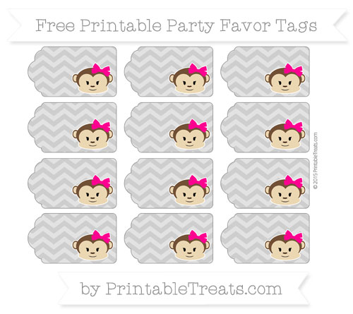 Free Pastel Grey Chevron Girl Monkey Party Favor Tags