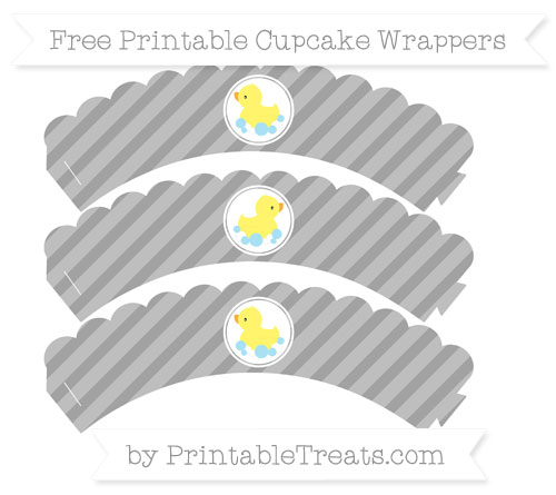 Free Pastel Grey Diagonal Striped Baby Duck Scalloped Cupcake Wrappers