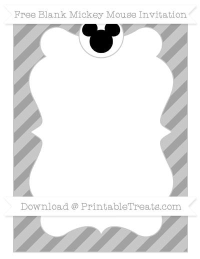 Free Pastel Grey Diagonal Striped Blank Mickey Mouse Invitation
