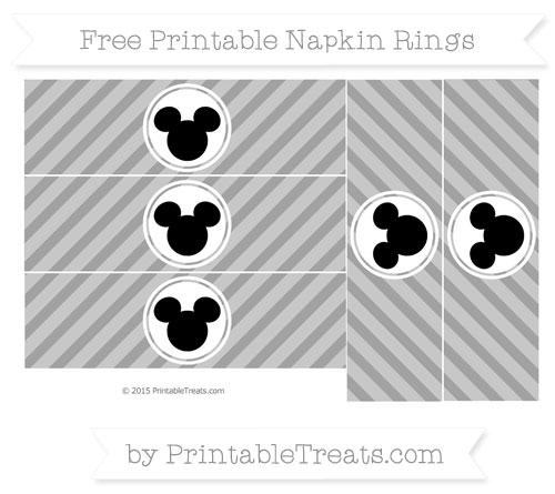 Free Pastel Grey Diagonal Striped Mickey Mouse Napkin Rings