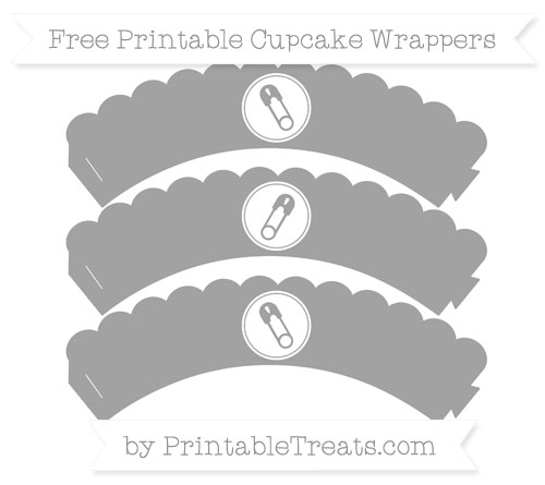 Free Pastel Grey Diaper Pin Scalloped Cupcake Wrappers